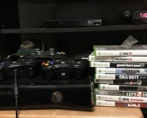 Xbox 360, controllers and games.