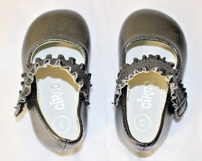 CIRCO TARGET Baby Girls Sz 3 Black Faux Leather Mary Janes Dress Shoes Slip-On