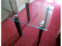 Glass Top Side Table with faux lether legs - New