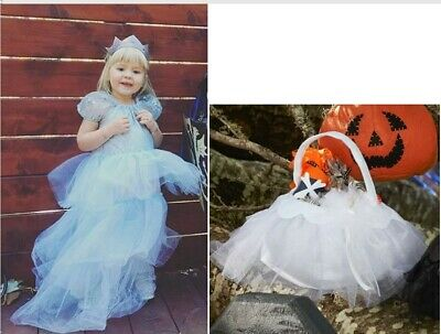 NWT POTTERY BARN KIDS BLUE PRINCESS QUEEN DRESS GOWN COSTUME/TIARA/TREAT BAG 3T