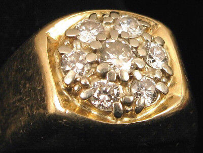 """VINTAGE CLUSTER DIAMOND 14K YELLOW GOLD RING SIGNED """"PARKS"""" CHUNKY BEAUTIFUL 11g"""