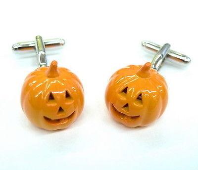 Halloween Pumpkin Cufflinks Orange Scary Costume Jack O Lantern + Box & Cleaner