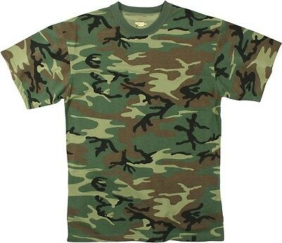 (T-SHIRT WOODLAND CAMO POLY COTTON BLEND MENS SIZE L teeswing (army bdu navy))