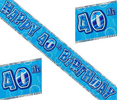 40. Geburtstag HAPPY BIRTHDAY Folienbanner Girlande Blau Prismatisch 360x12,5cm
