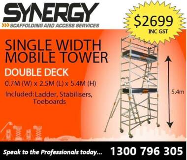 0.7 X 2.5 X 5.4 ALUMINIUM MOBILE SCAFFOLD Revesby Bankstown Area Preview