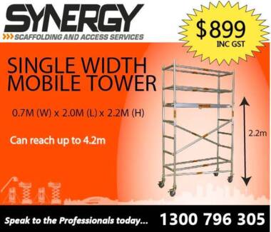 SINGLE WIDTH ALUMINIUM MOBILE SCAFFOLD 0.7 X 2.0 X 2.4M PLATFORM Revesby Bankstown Area Preview