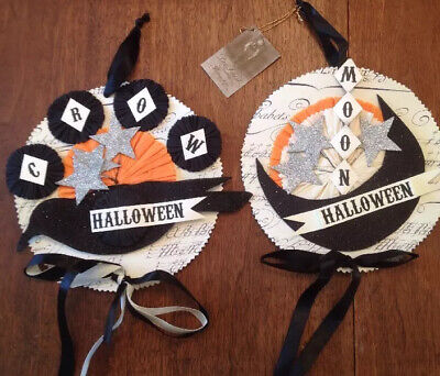 Bethany Lowe Dee Foust Halloween Moon & Crow Ornaments--Set of 2--discontinued