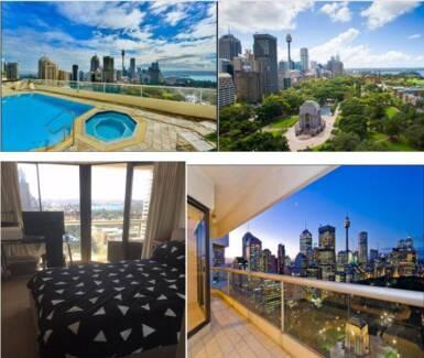 Super sized bedroom overlooking Hyde Park & Sydney Harbour
