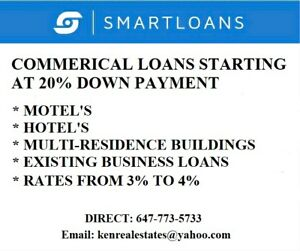 Motels, Hotels, Apartment building loans starting at 20% Down