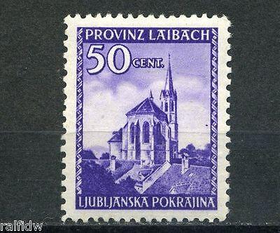 Bes. 2. WK Laibach 50 C. Kirche Plattenfehler Michel 49 IV geprüft (S5212)
