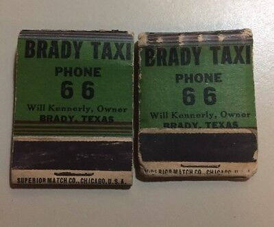 Vintage 1930s Taxi Cab Pin Up Brady,Texas Match Books Rare