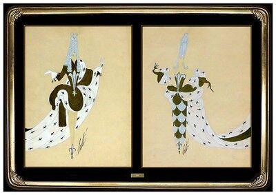 ERTE 2 Original Gouache Painting Marie Antoinette Dress Design Signed Tirtoff