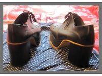 Genuine handmade Sherman Stylo very dark brown 70's mens platform shoes.