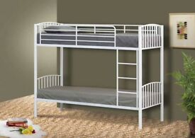 2FT 6 WHITE METAl BUNK BEDS - NEVER ASSEMBLED