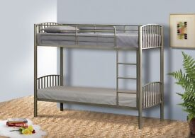 SET OF 3 FT SILVER METAL BUNK BEDS - NEVER ASSEMBLED