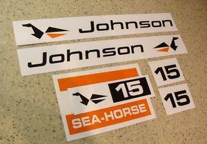 Johnson Sea Horse Outboard Motor Decal Kit 15 Hp Free Ship