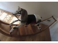 Beautiful Handmade Large (Adult-Size) Wooden Rocking Horse with Horsehair Mane and Tail
