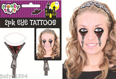 HALLOWEEN FACE EYE TEMPORARY TATTOOS ZIP ZIPPER TATTOO HORROR COSTUME ACCESSORY