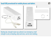 Small USB powerbank for mobile phones and tablets