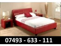 Double leather bed Red Brown + Mattress + memory foam