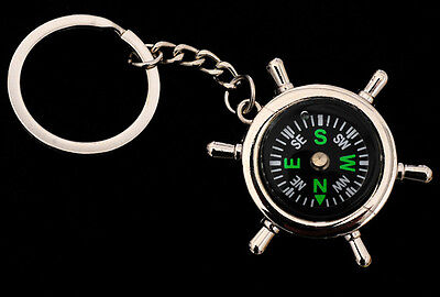 Portable Camping Sport Hike Rudder Shape Compass Keychain Outdoor Tools Key Ring