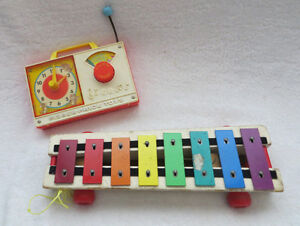 VINTAGE FISHER PRICE TOYS - CLOCK and XYLOPHONE