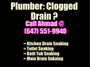 Licensed Plumber: Clogged Drain? ☎️ : (647)551-9940