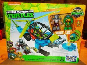 MEGA BLOKS TMNT  TURTLE CHOPPER  81 PCS + SHREDDER + LEO NEW