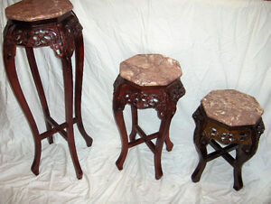 MATCHING MAHOGANY / GLASS TABLES West Island Greater Montréal image 5