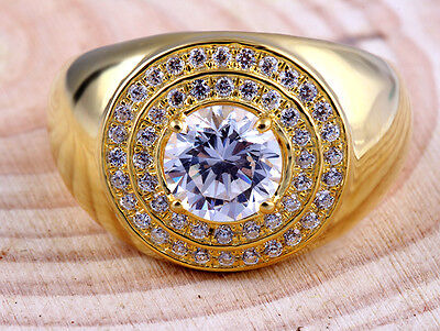 FINE EDH Ring Diamond Solitaire Gold 14k Mens S Men Yellow Round 1 Ct Carat