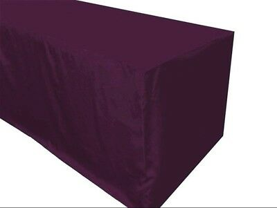 5 Ft. Fitted Polyester Table Cover Trade Show Booth Tablecloth Eggplant Purple
