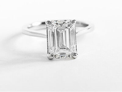Natural 0.85 ct. Emerald Cut Diamond Engagement Solitaire GIA E, VS2 14k WG 1