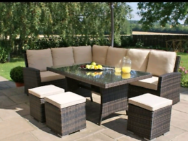 New rattan garden furniture set 9 seater cushions table