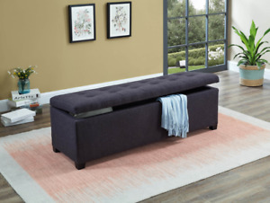 Luxe storage ottoman, 5 colors, fabric or leatherette, IN STOCK