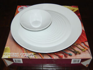 NEW Chip 'n Dip Porcelain 2-piece Bowl and Plate Set EXTRA LARGE