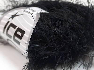 Black Extra Long Eyelash Yarn Ice Luxurious Fun Fur 50gr 38y