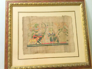 (Hand Painted Egyptian Art) (Papyrus Orig. Framed) King Tutankha