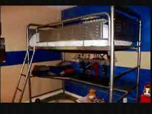 Bombay single loft bed with table bunk silver