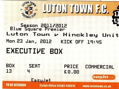 Ticket - Luton Town v Hinckley United 23.01.12