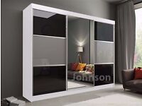 🔥HUGE 203 OR 250 CM WIDE SLIDER💖 BRAND NEW GERMAN RUMBA 2 Door Sliding Wardrobe in Black Or White