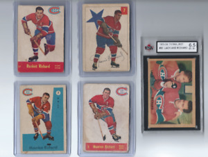 MAURICE RICHARD PARKHURST 5 CARD LOT FROM THE 1950s