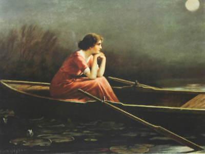Lady in Boat Moon Light by Zula Kenyon