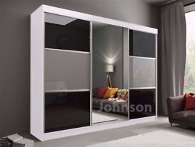 SAME DAY QUICK DELIVERY *** BRAND NEW RUMBA SLIDING DOORS WARDROBE IN BLACK AND GREY