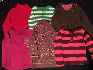 6 GIRLS LONG SLEEVED TOPS - SIZE 4