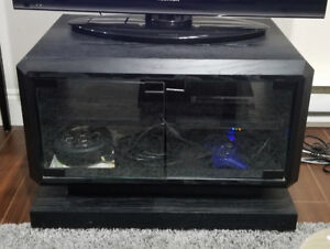 TV Stand - Black wooden light weight with glass doors