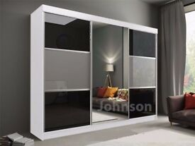AMAZING OFFER Brand New Rumba Sliding Door German Wardrobe in White/Black/oak Colors Available
