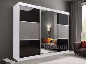 CHEAPEST PRICE EVER- BRAND NEW RUMBA SLIDING DOORS WARDROBE IN BLACK AND GREY