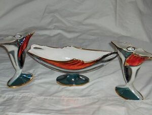 Art Deco style Italian porcelain set of three candlesticks West Island Greater Montréal image 4