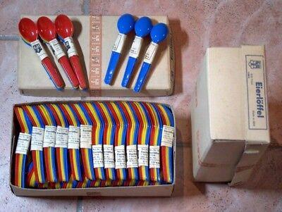 12 bunte Eierlöffel DDR Plaste GBZ mit Papieretikett