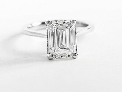 Natural 2.00 ct. Emerald Cut Diamond Engagement Solitaire Ring GIA F VS2 14k